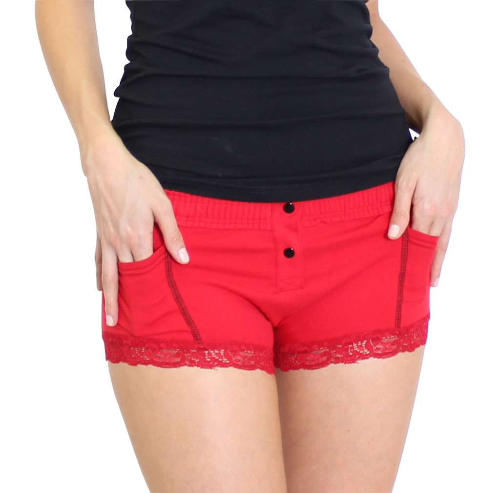 Girls Red Boxer Brief with pockets
