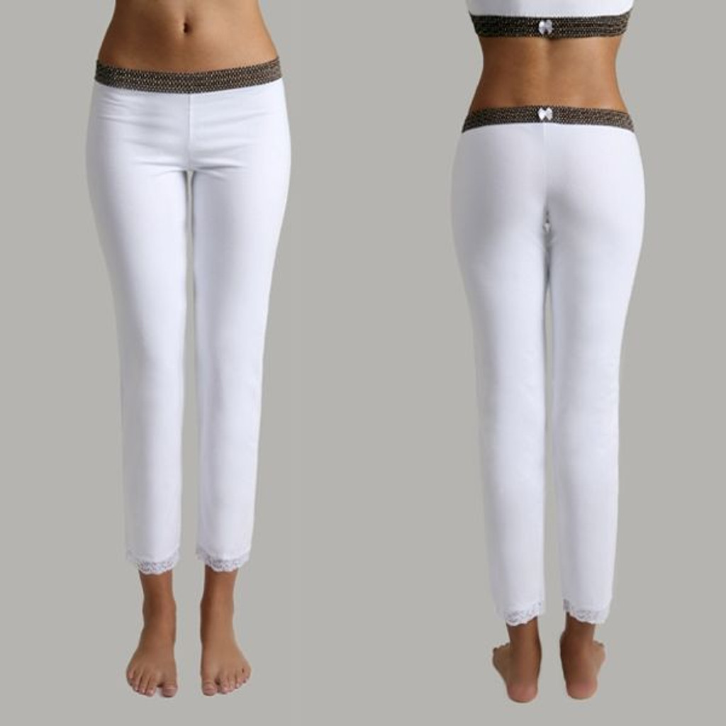 Leggings - Brown Dot over White