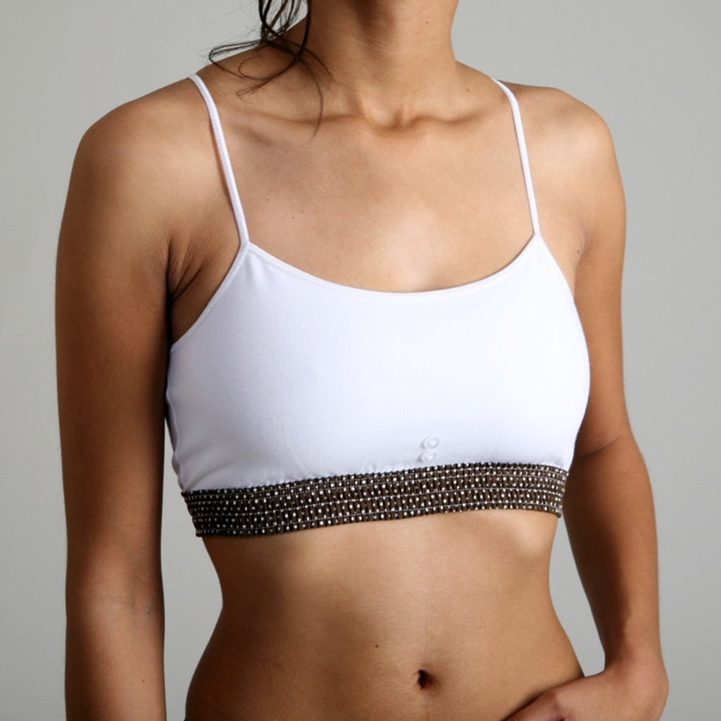 Sport Top - Brown Dot over White