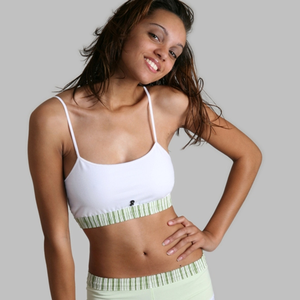 Sport Top - Lime Stripe over White