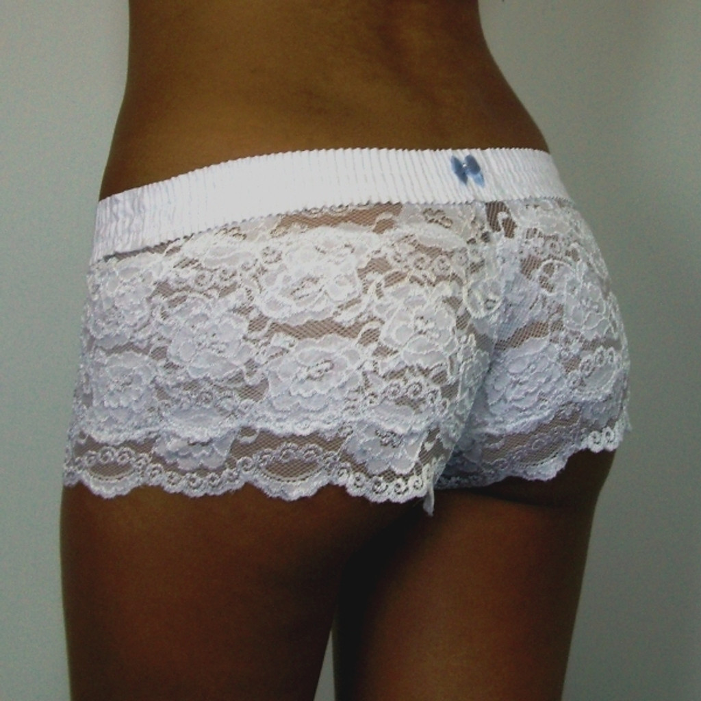 White / White Lace Boxers (Blue Bow)