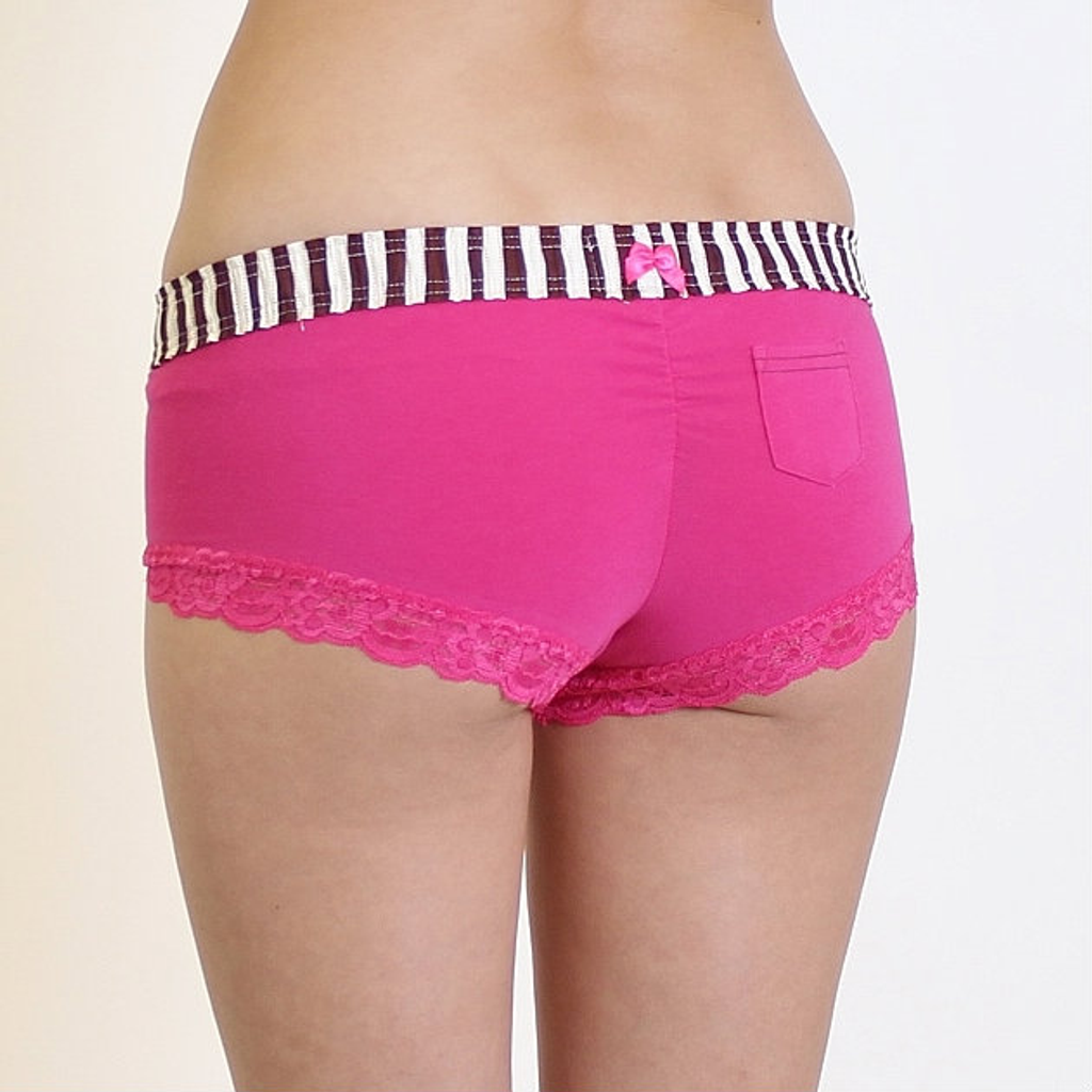 Pink Boyshort Panties with Striped Waistband