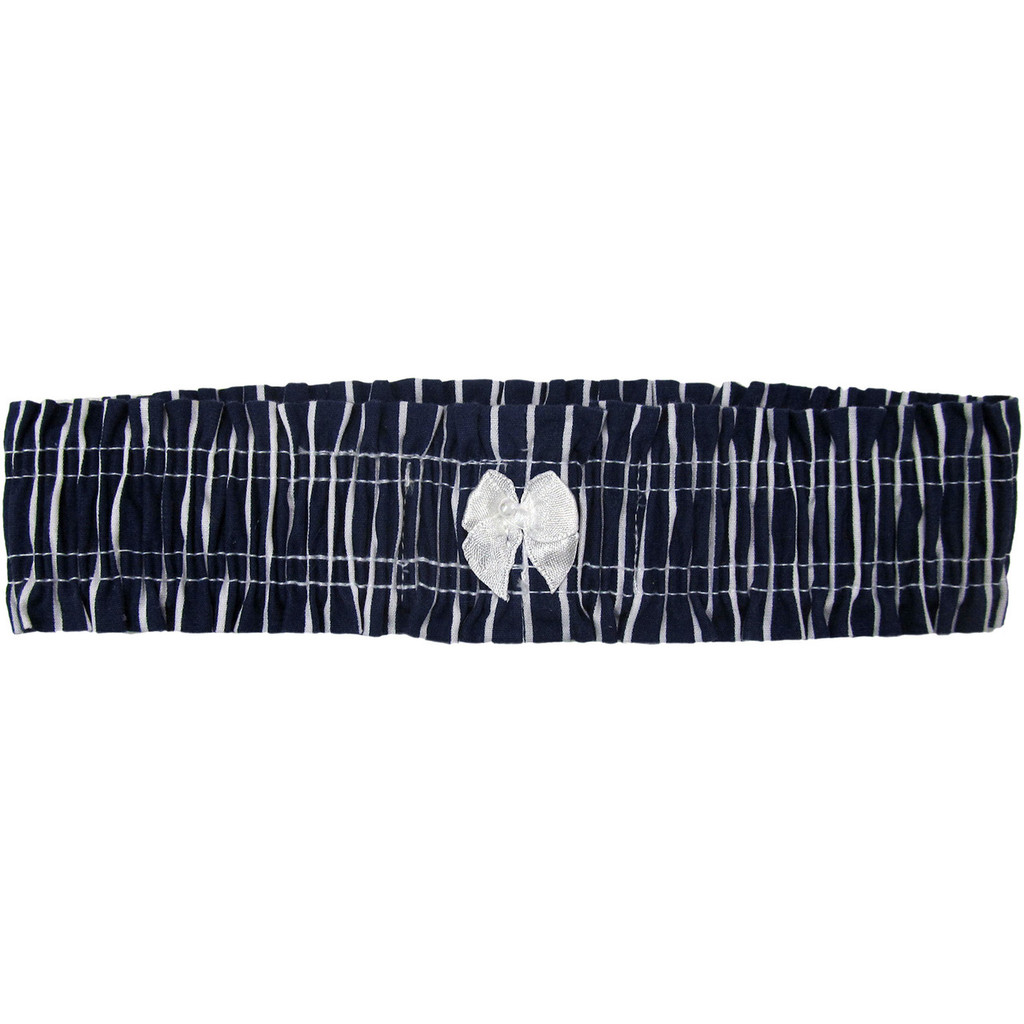 Navy Blue Striped Bridal Leg Garter