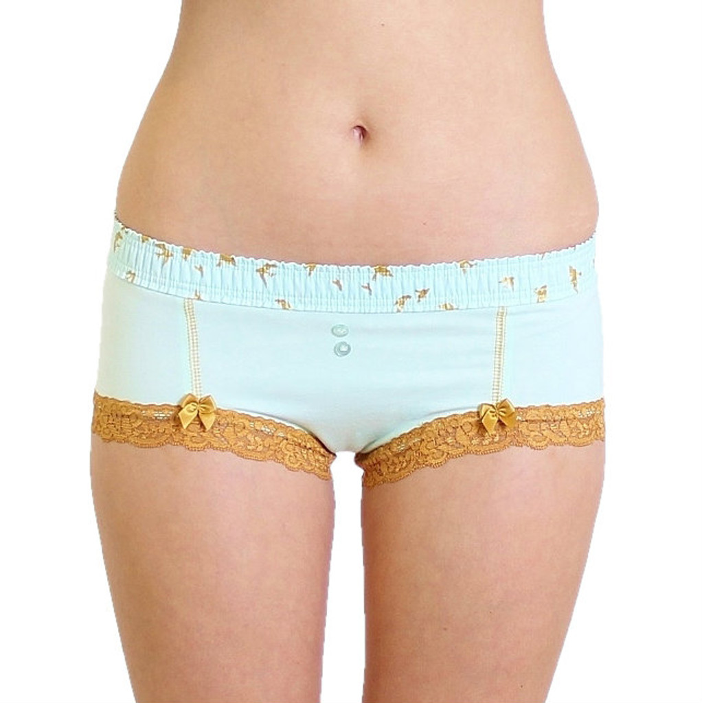 Light Blue Boyshort Panties with Gold Accents