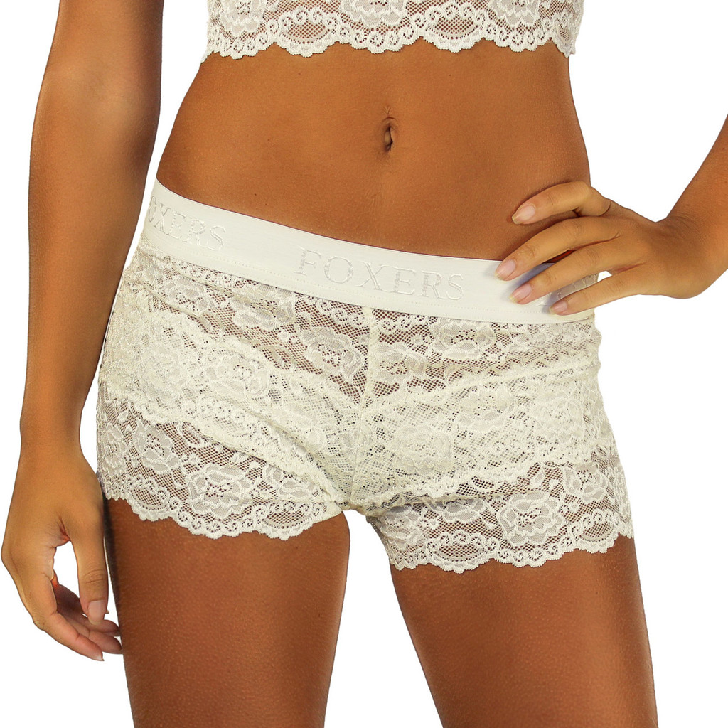 Ivory Lace Boyshort Boxers for Women