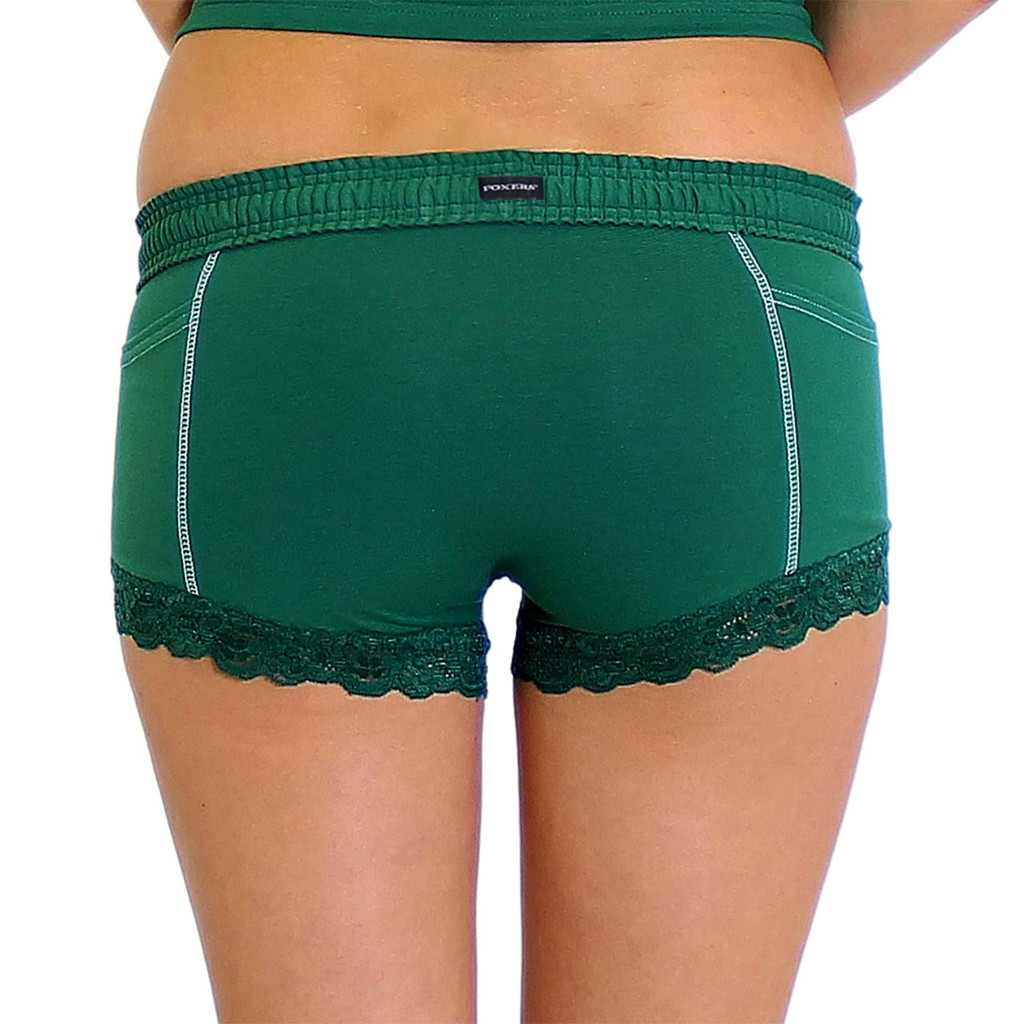 Adrogynous Green Boxer Briefs Back with Logo