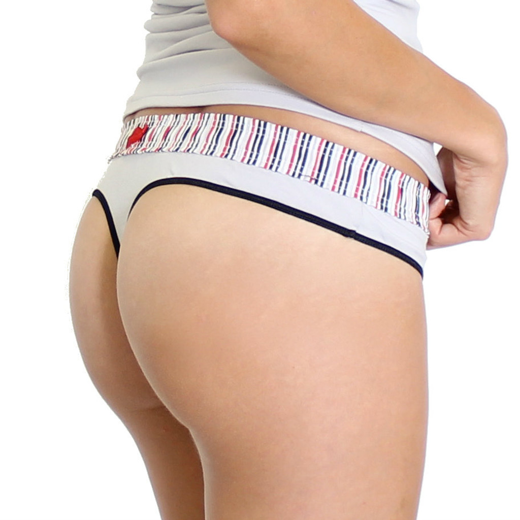 Grey thong underwear with striped waistband