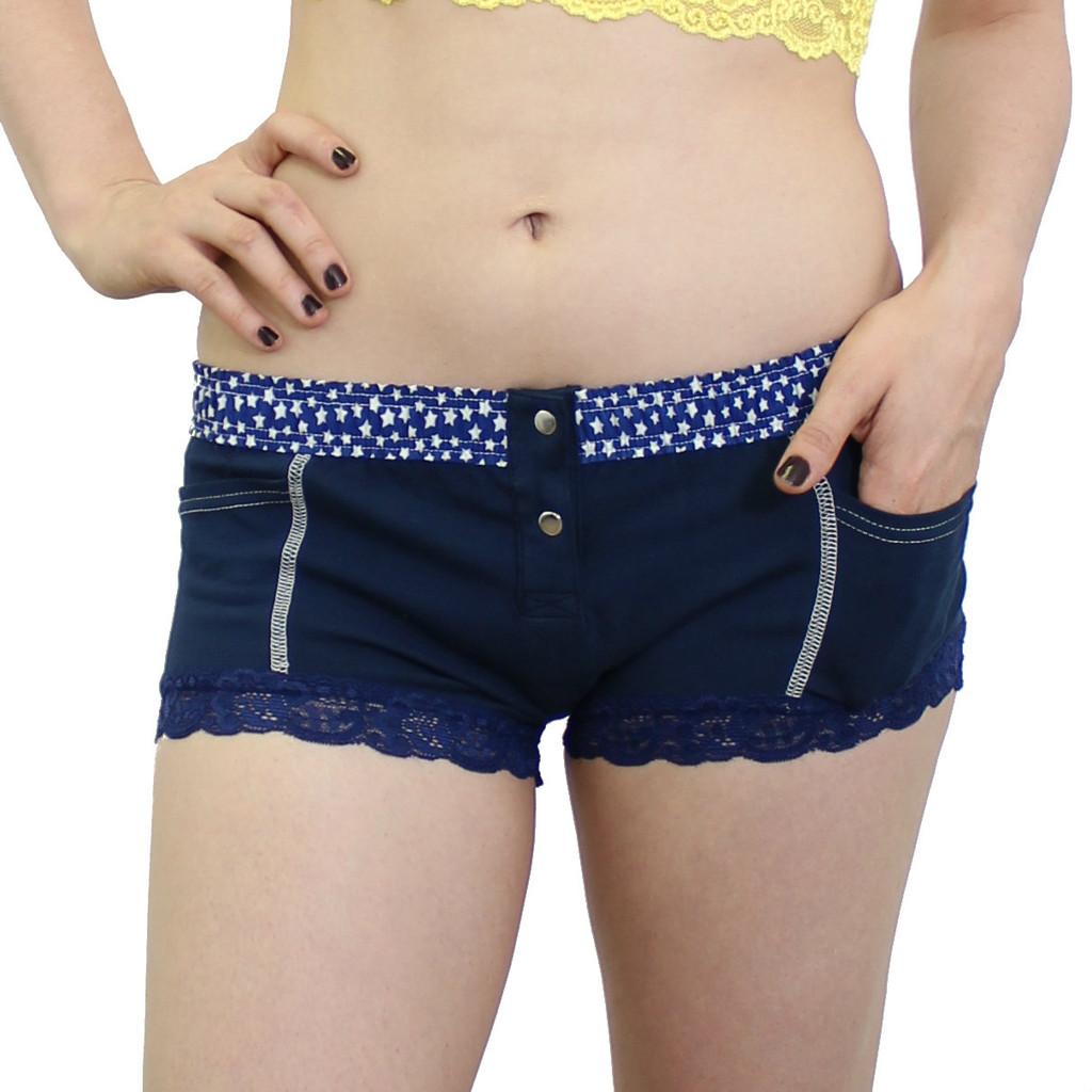 Navy Blue Girls Boxer Brief Underwear with Stars and pockets