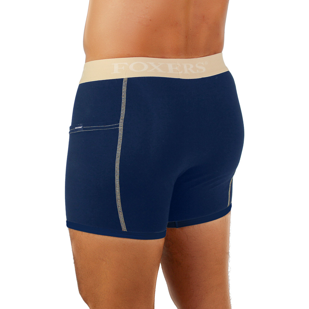 Men's Navy Boxer Brief with Flat Logo Band
