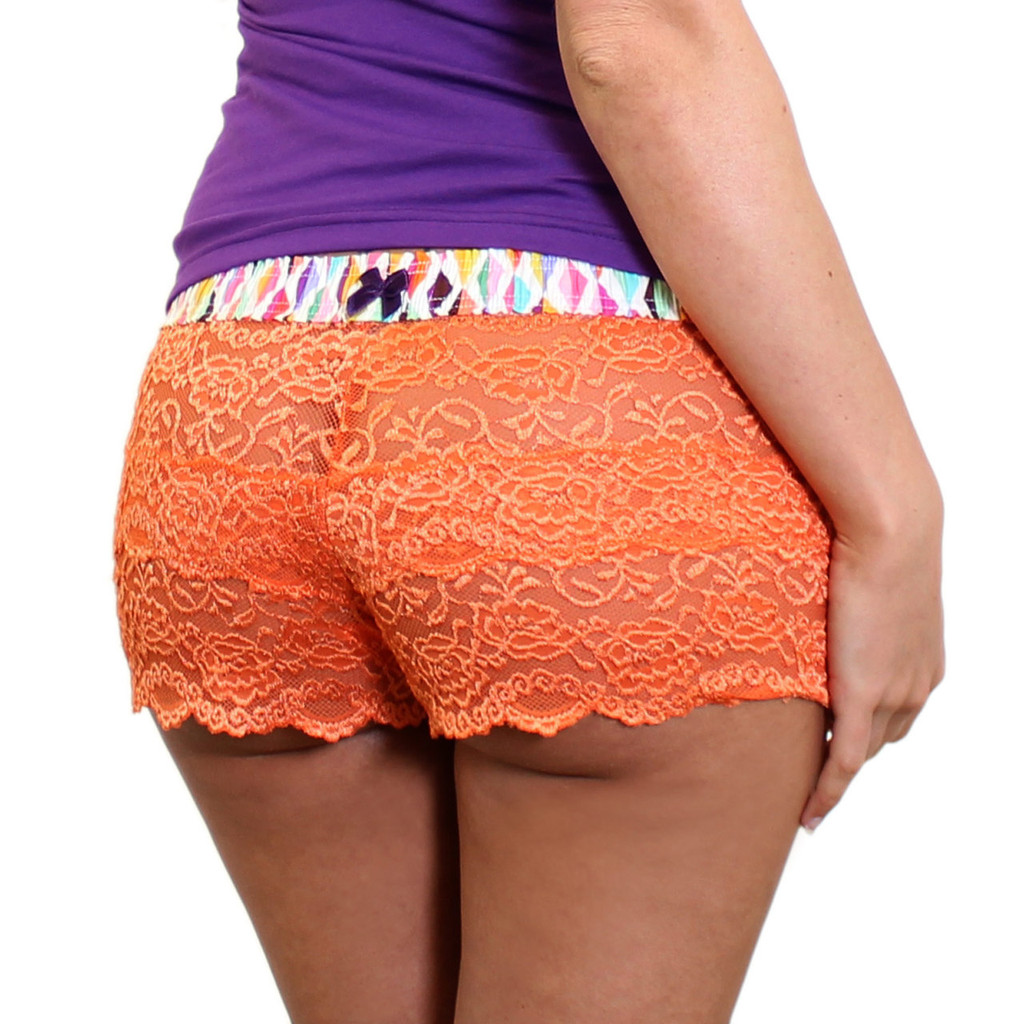 Orange Lace Boxers with Confetti FOXERS Band