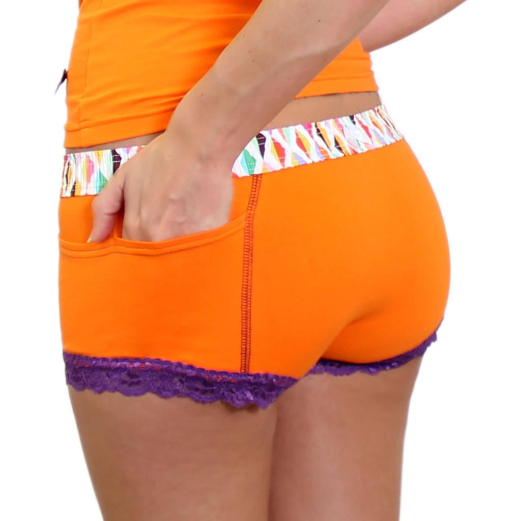 Orange womens boxer brief underwear with pockets