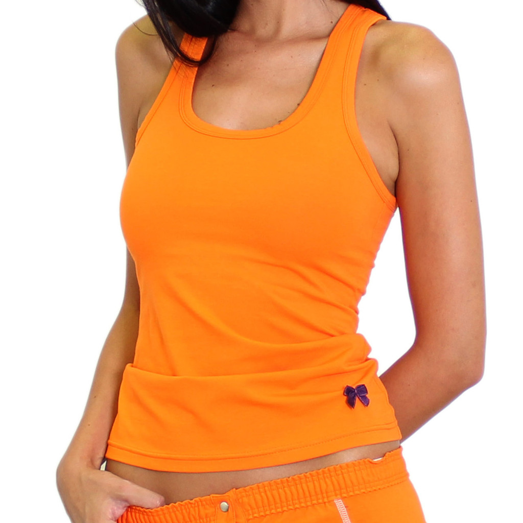 Sporty Women's Orange tank top with built in shelf bra for extra support!