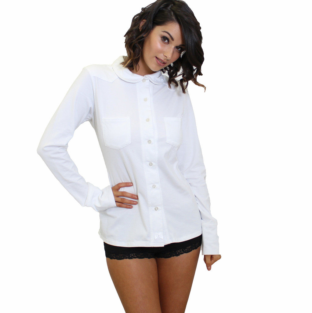 White equestrian lounge shirt