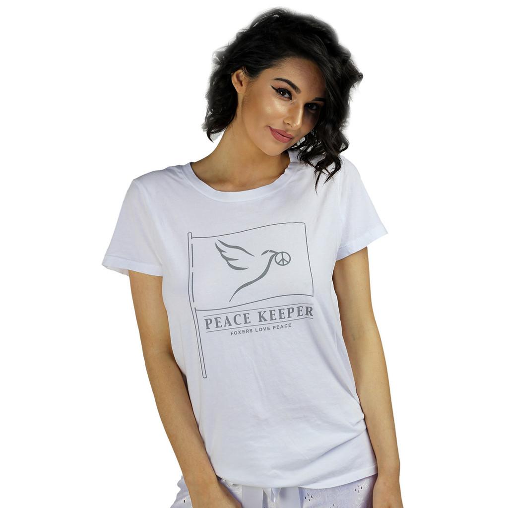 White T-Shirt Peace Dove
