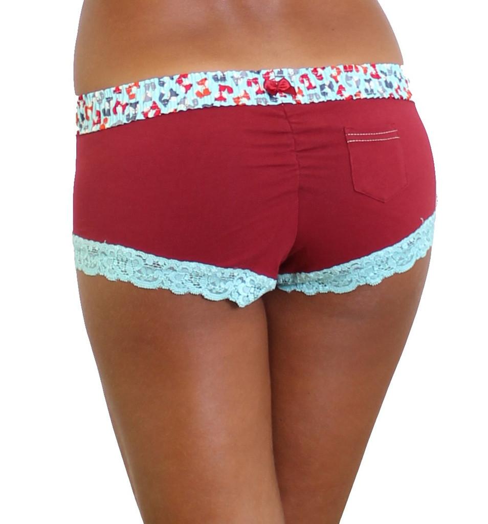 Cranberry Red Boyshort underwear with Fox print waistband