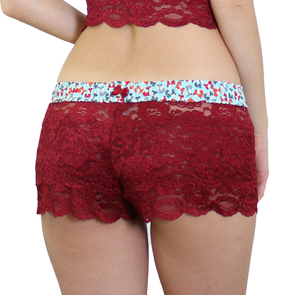 Dark red lace boxer style panties with foxes