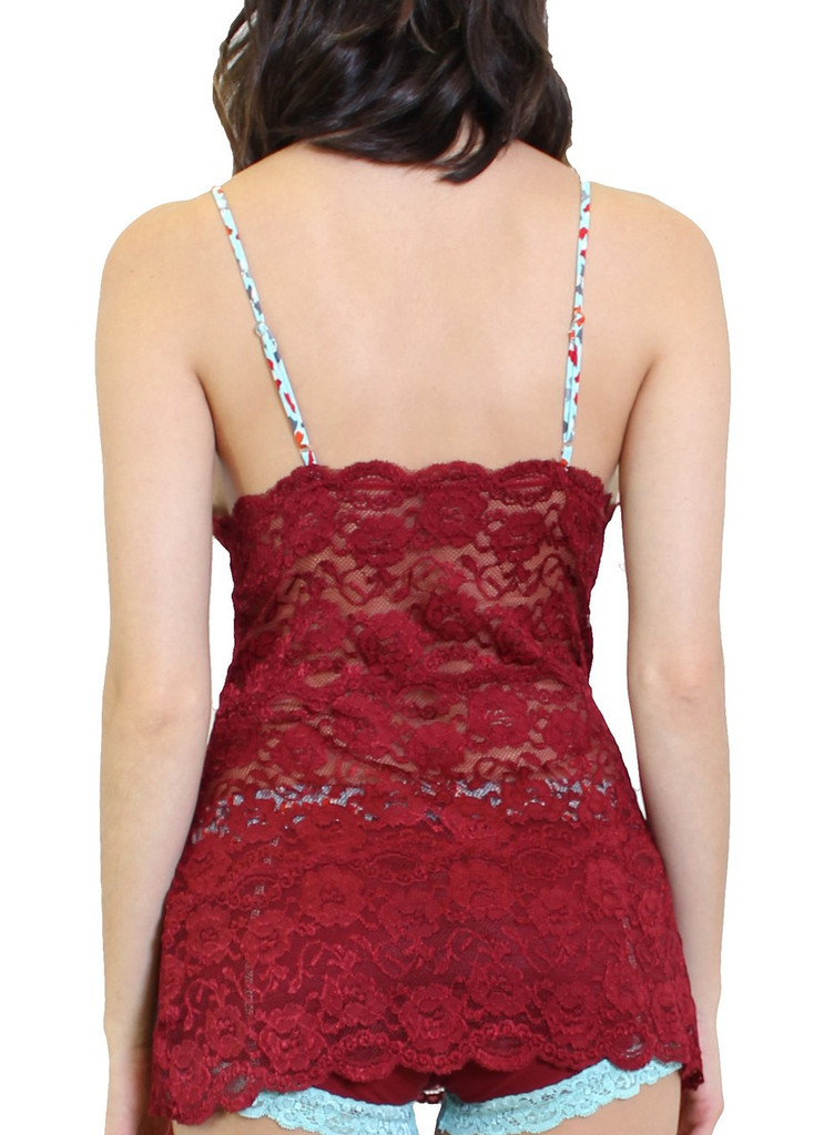 Cranberry 3 Row Lace Camisole with Foxes Straps