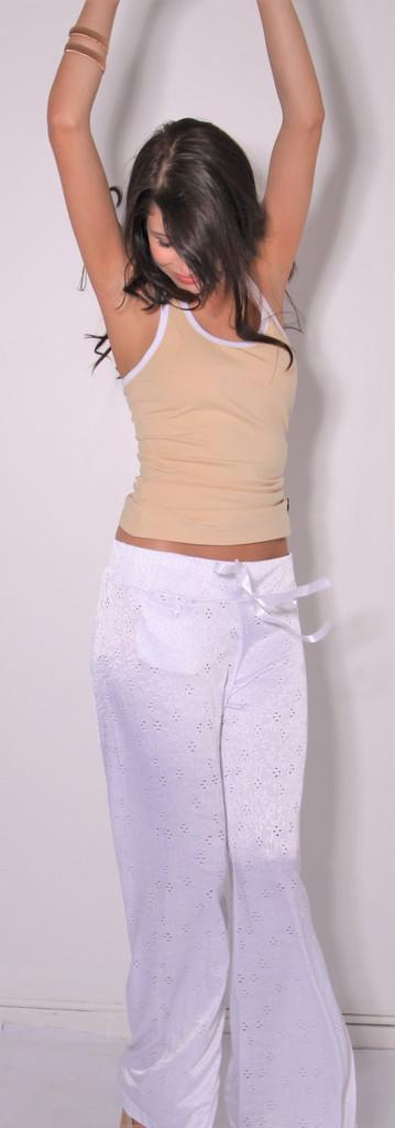White Palazzo Pants | FOXERS Pajama Pants