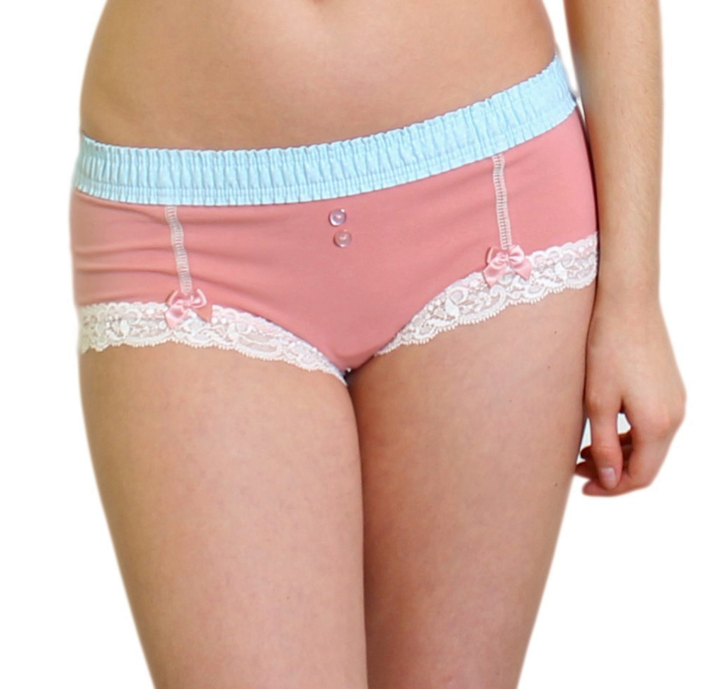 French Rose Boyshort with Aqua Dot FOXERS Band