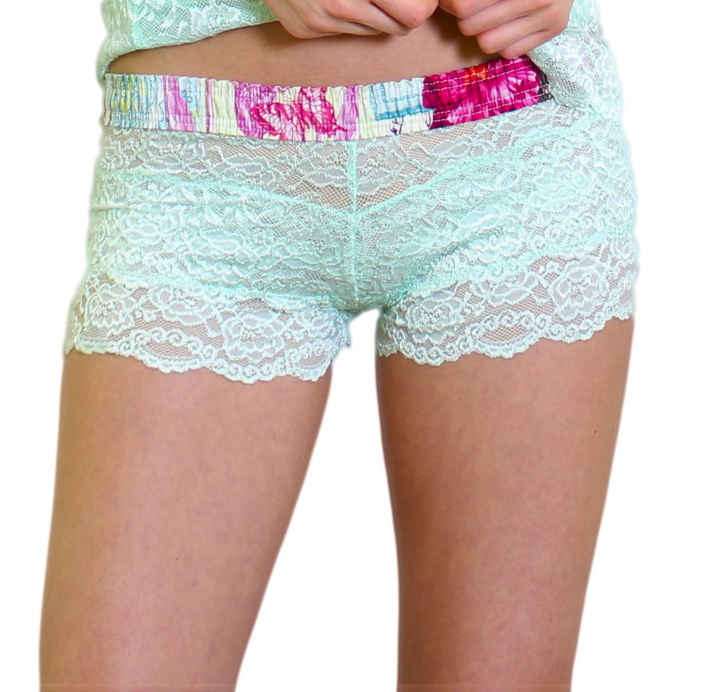 Mint Green Lace Boxer Briefs with Floral Waistband