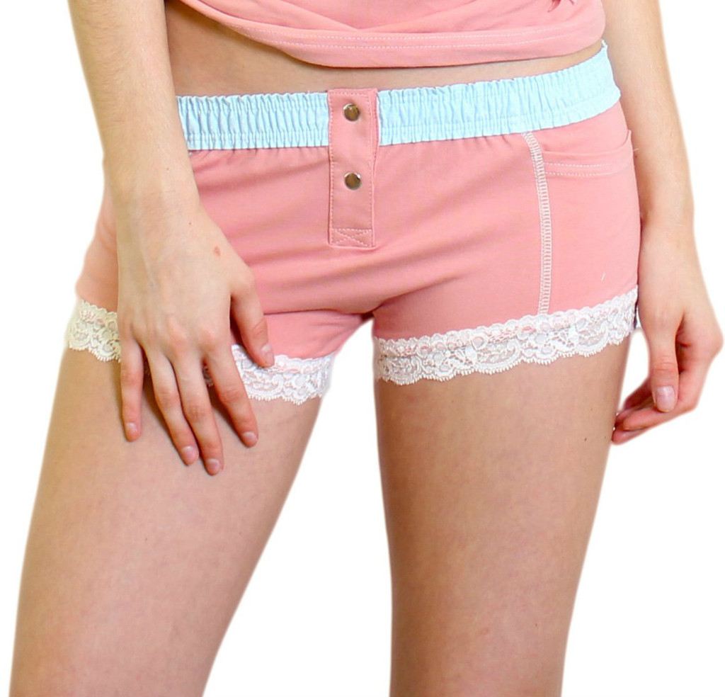 French Rose Boxer Brief with Aqua Dot FOXERS Band