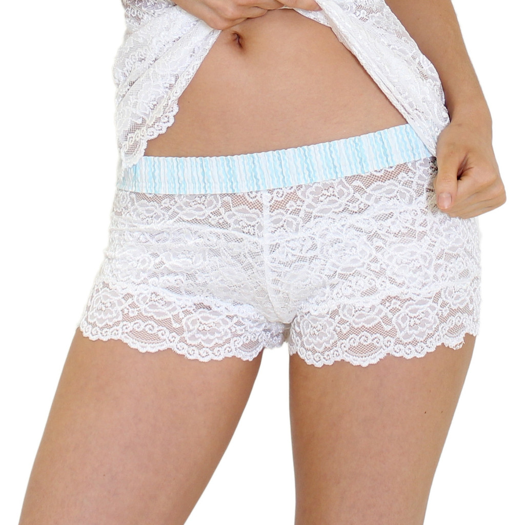 White Lace Boxers with Aqua Rickrack FOXERS Band