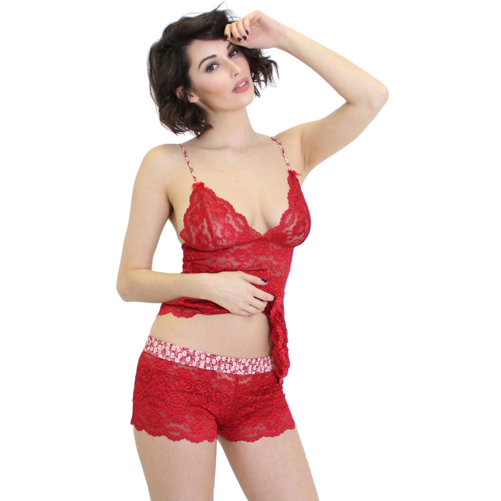 Valentines Day Red Lace Camisole and Panties
