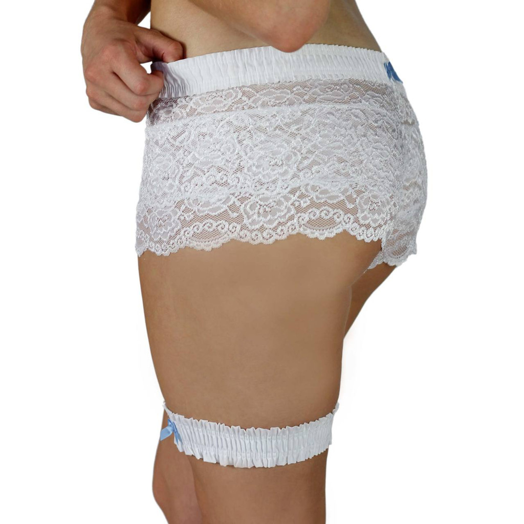 White Leg Garter with Light Blue Bow and matching lace boxers