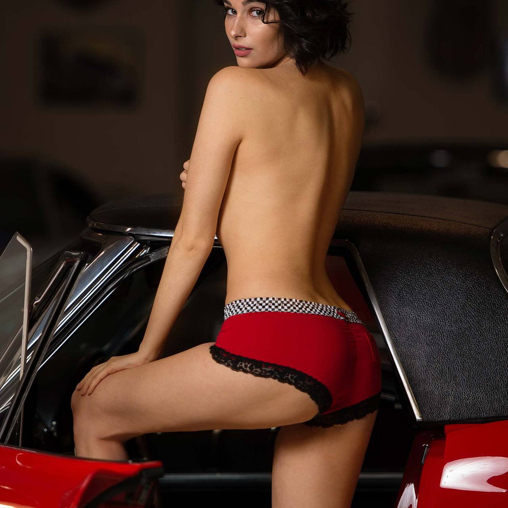 Womens Red Boy Short Panties with Checkered FOXERS Band