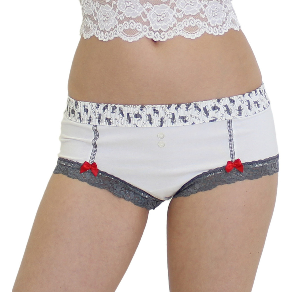 White Boy Shorts with FOXERS Elk Print Band
