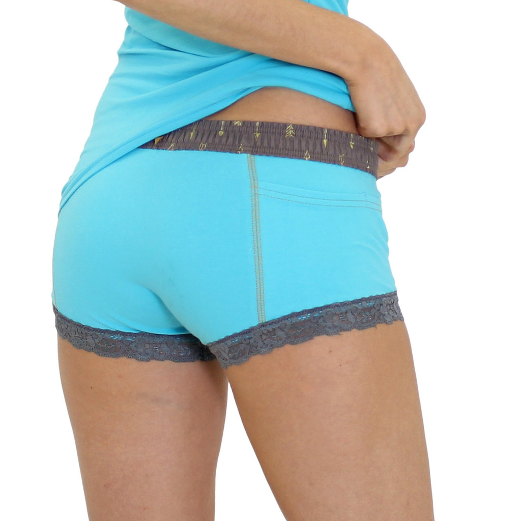Aqua Boxer Briefs with Pockets