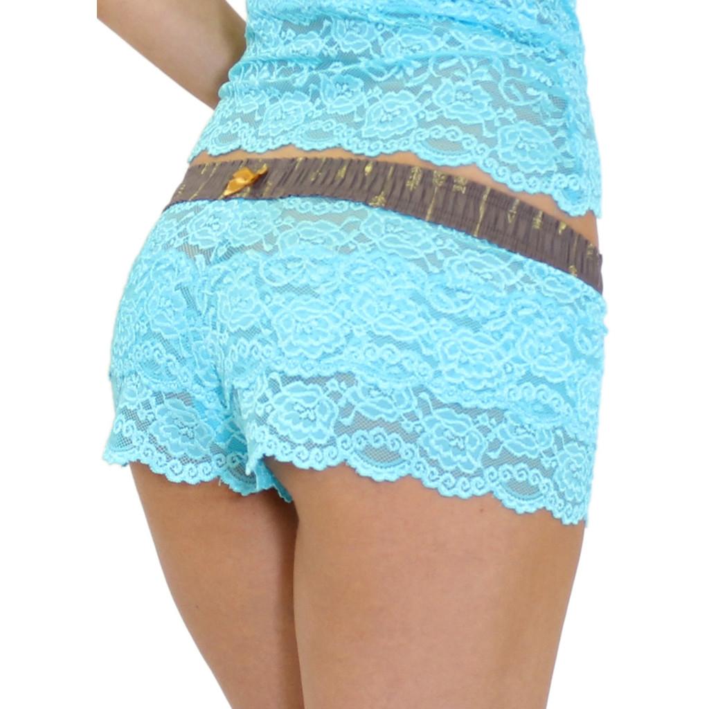 Women's Turquoise Lace Boxer Briefs