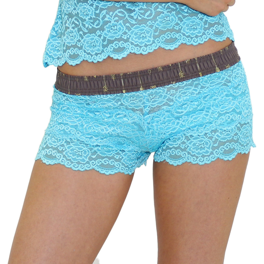 Women's Turquoise Lace Boxers with Arrow Print FOXERS Band