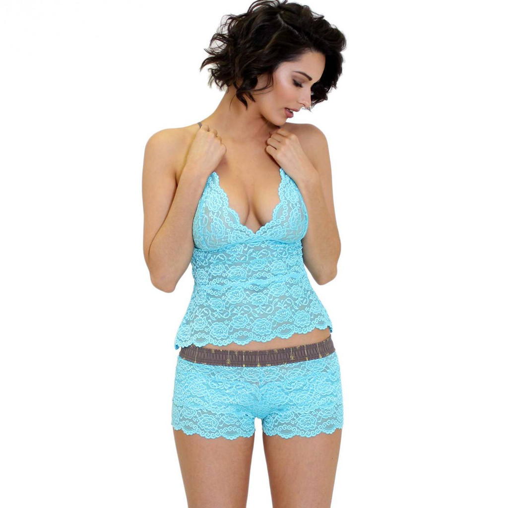 Aqua Blue Lace Girls Boxers and Lace Bralette Cami