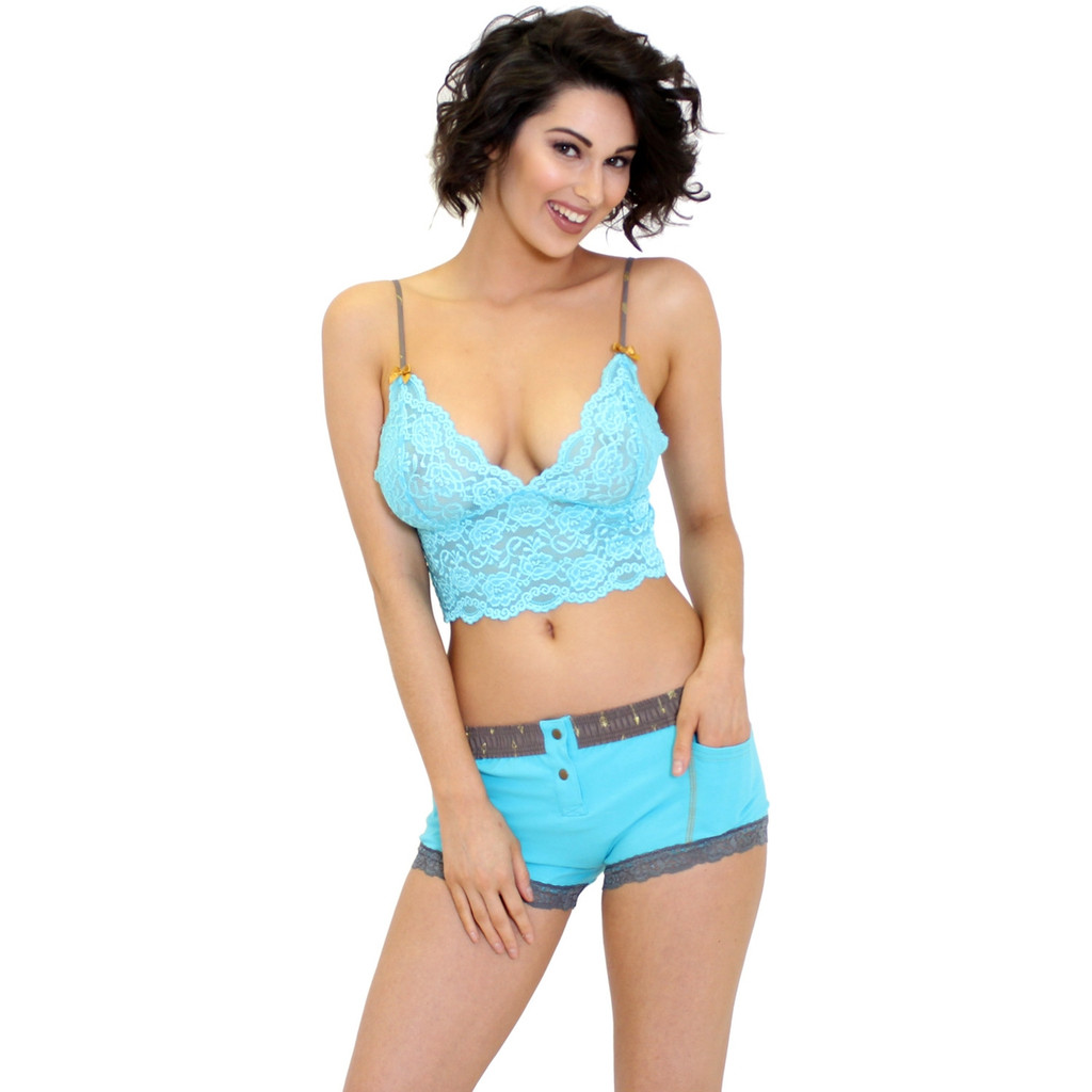 Turquoise Lace Cami Top and Matching Boxer Briefs