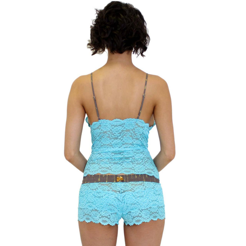 Aqua Blue Lace Mid Length Camisole