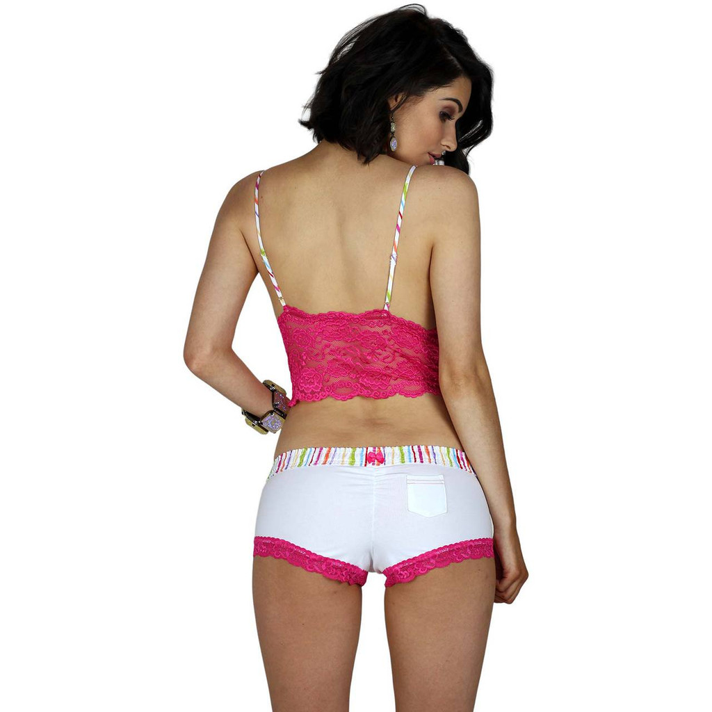 Watercolors White Boyshort Panties & Fuchsia Pink Lace Camisole