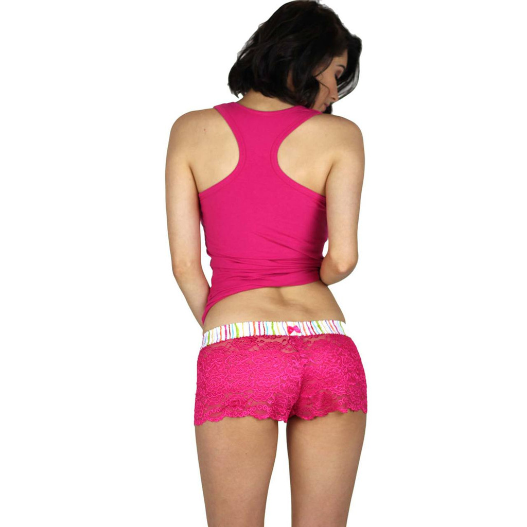 Fuchsia Women's Lace Boxers and Racerback Tank