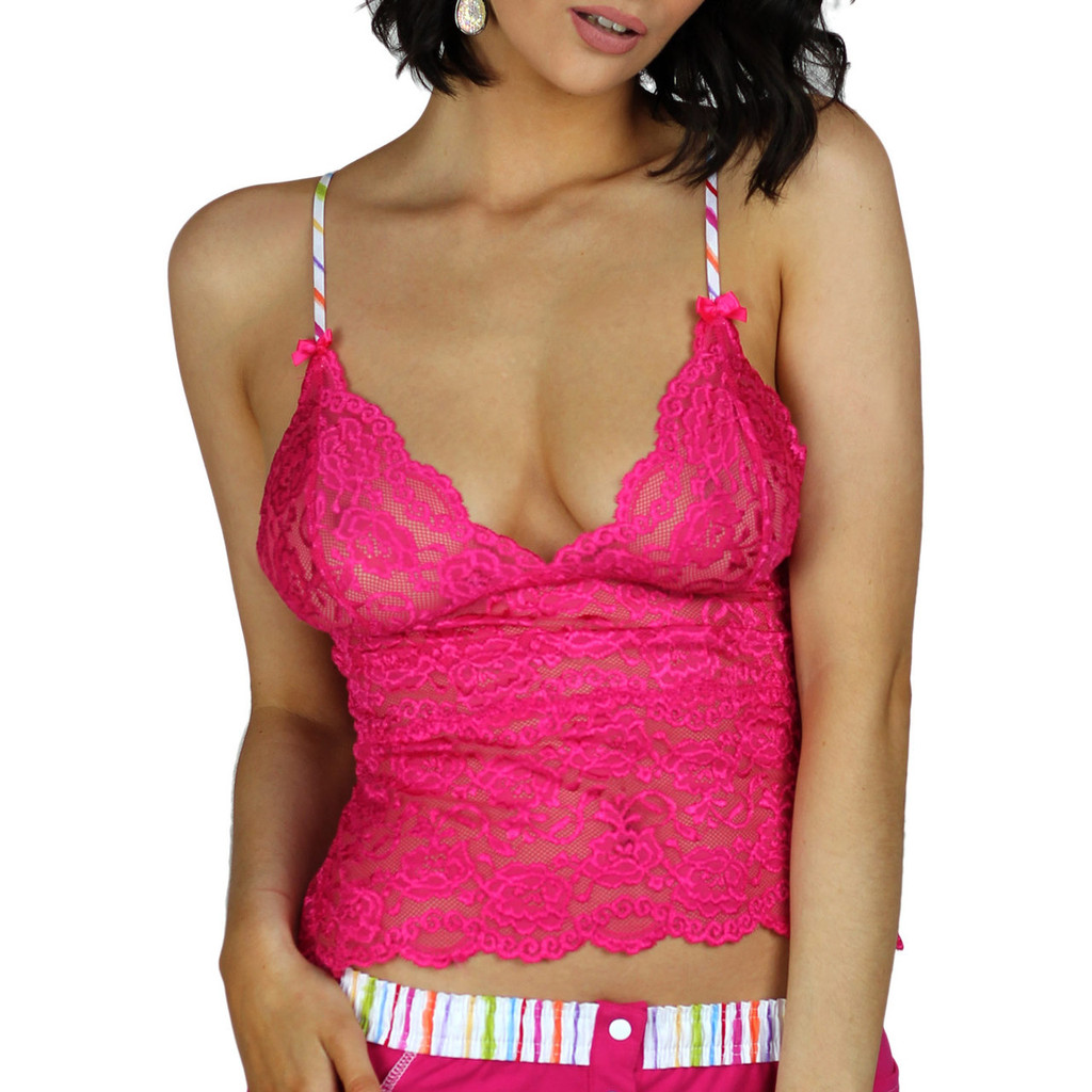 Fuchsia Pink Lace Lingerie Top | FOXERS