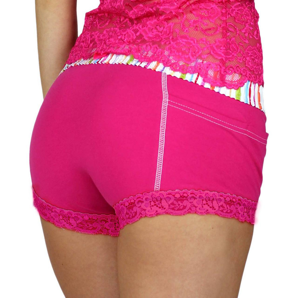Pink Boxers with Colorful Waistband