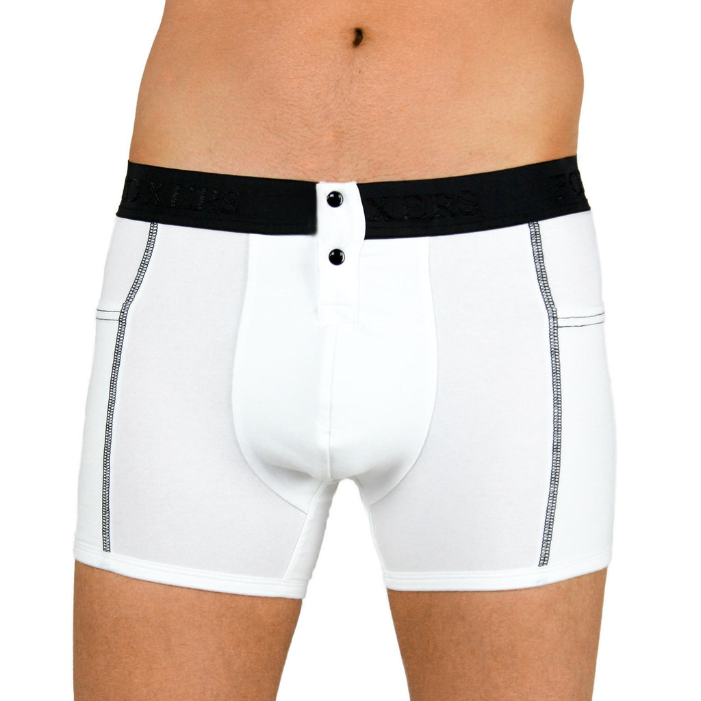 Men's White Tuxedo Boxer Briefs with Pockets
