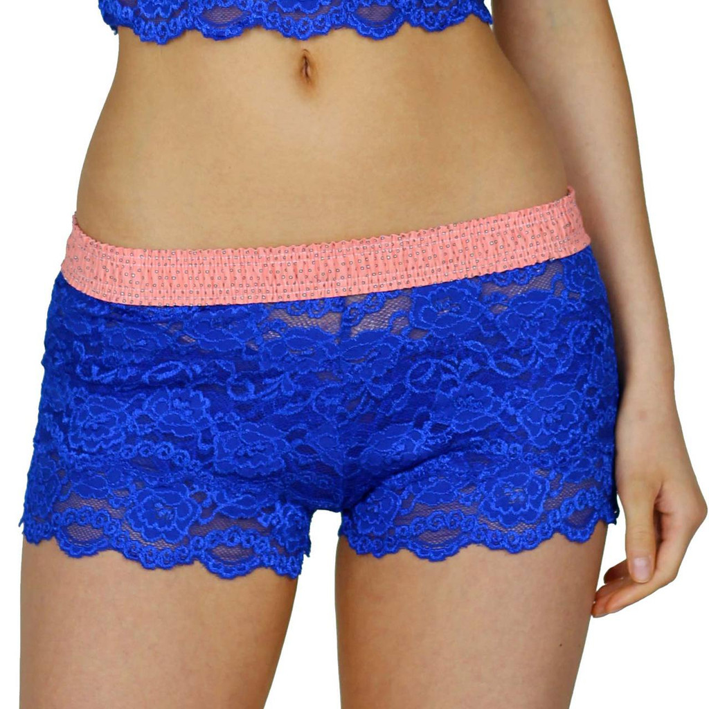 Fuchsia Lace Boxers with Coral Reef FOXERS Waistband