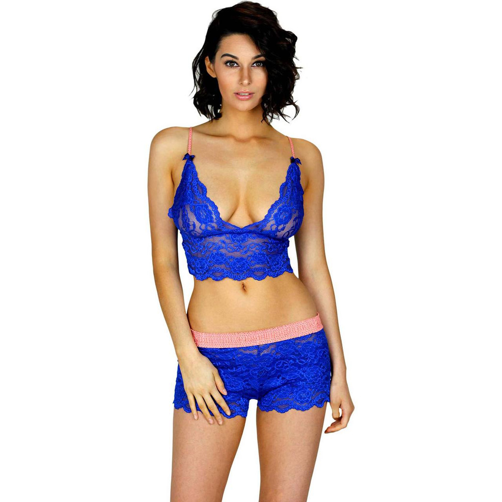 Royal Blue Lace Boxers with Coral Foxers Waistband