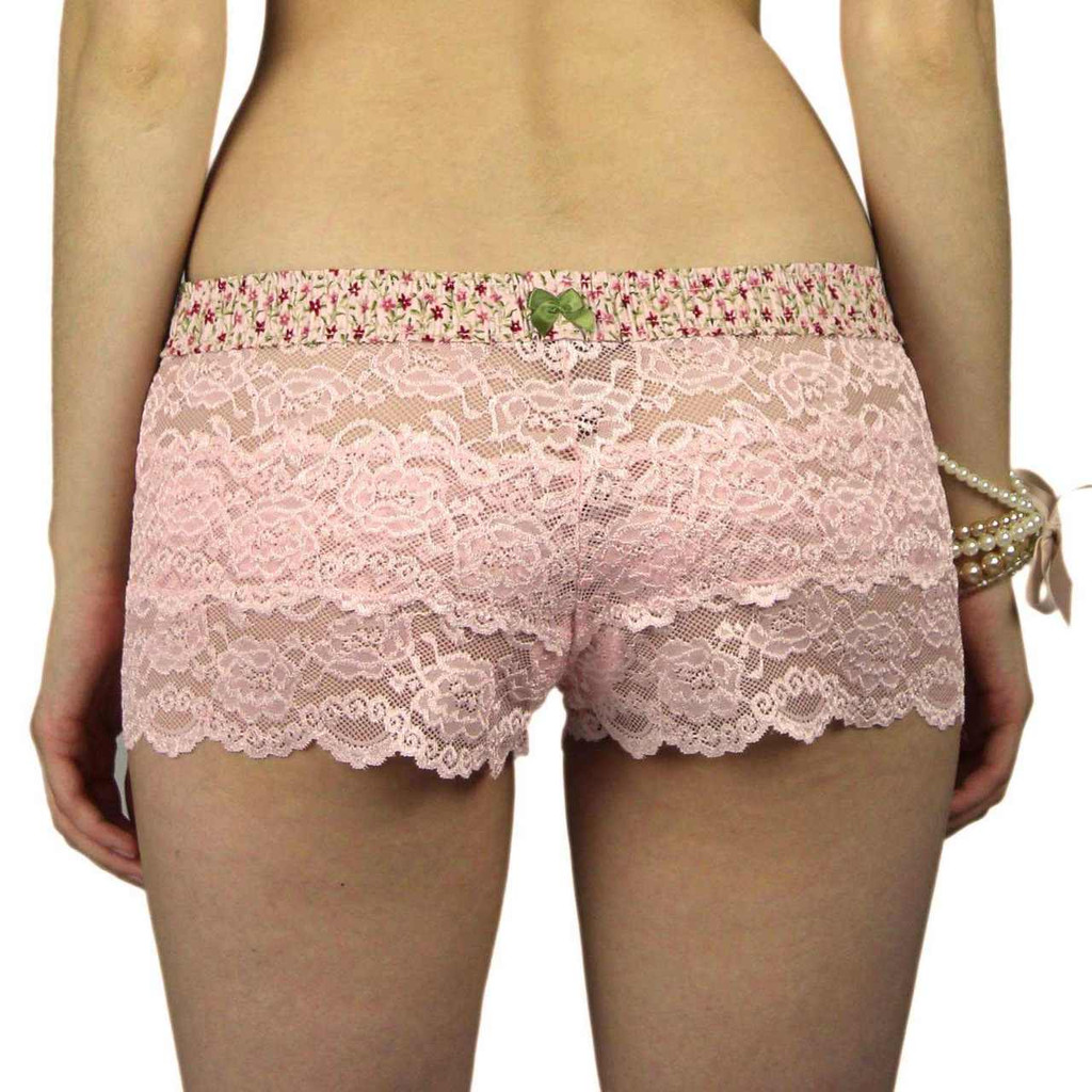 Pink Lace Boxers for women