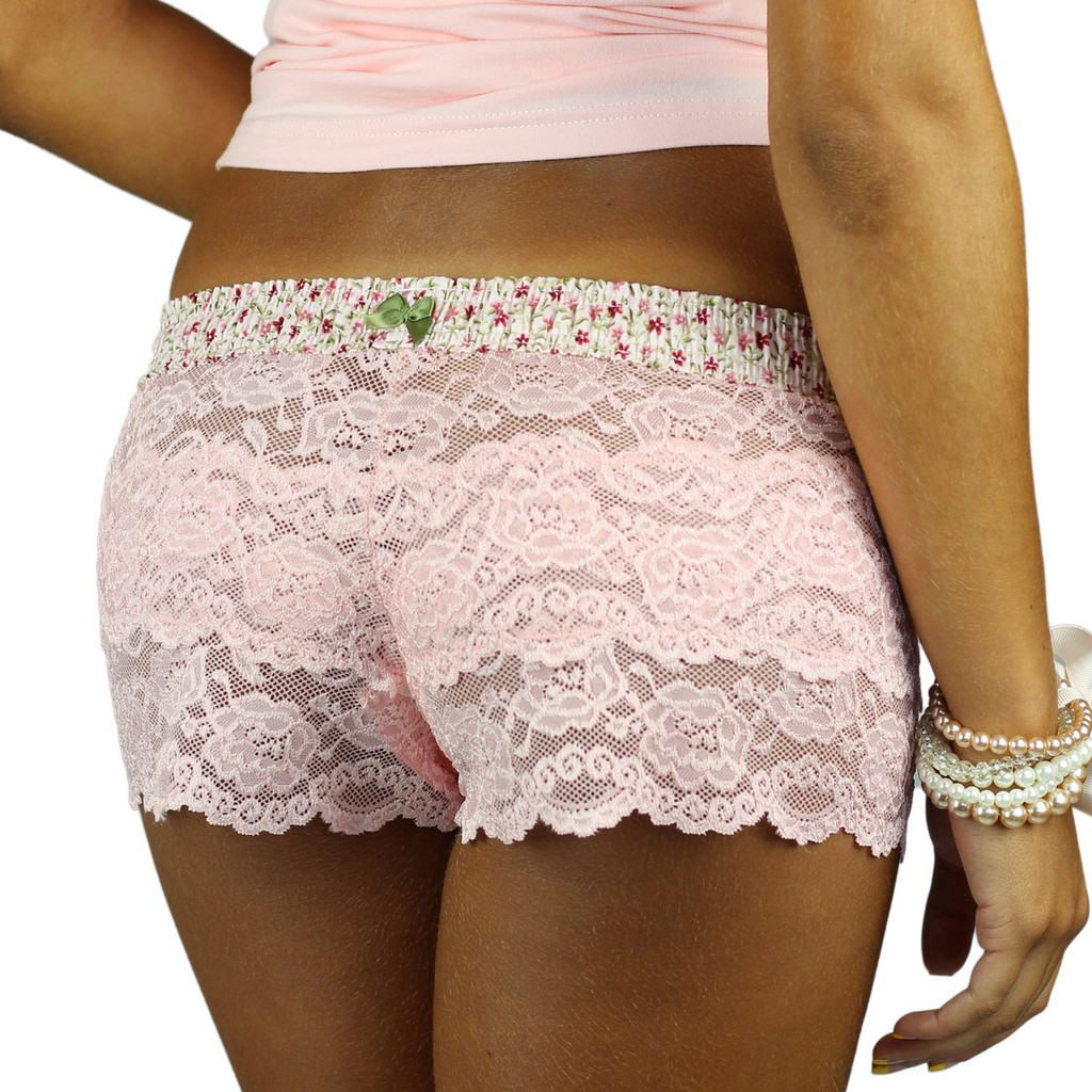 Women's Semi Sheer Pink Lace Boxers