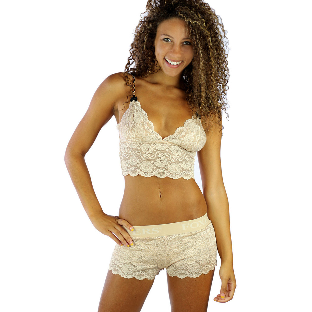 Our Sahara Sand Lace Bralette Cami pairs with our  matching  Sand Lace Boxers for a sexy lingerie set!