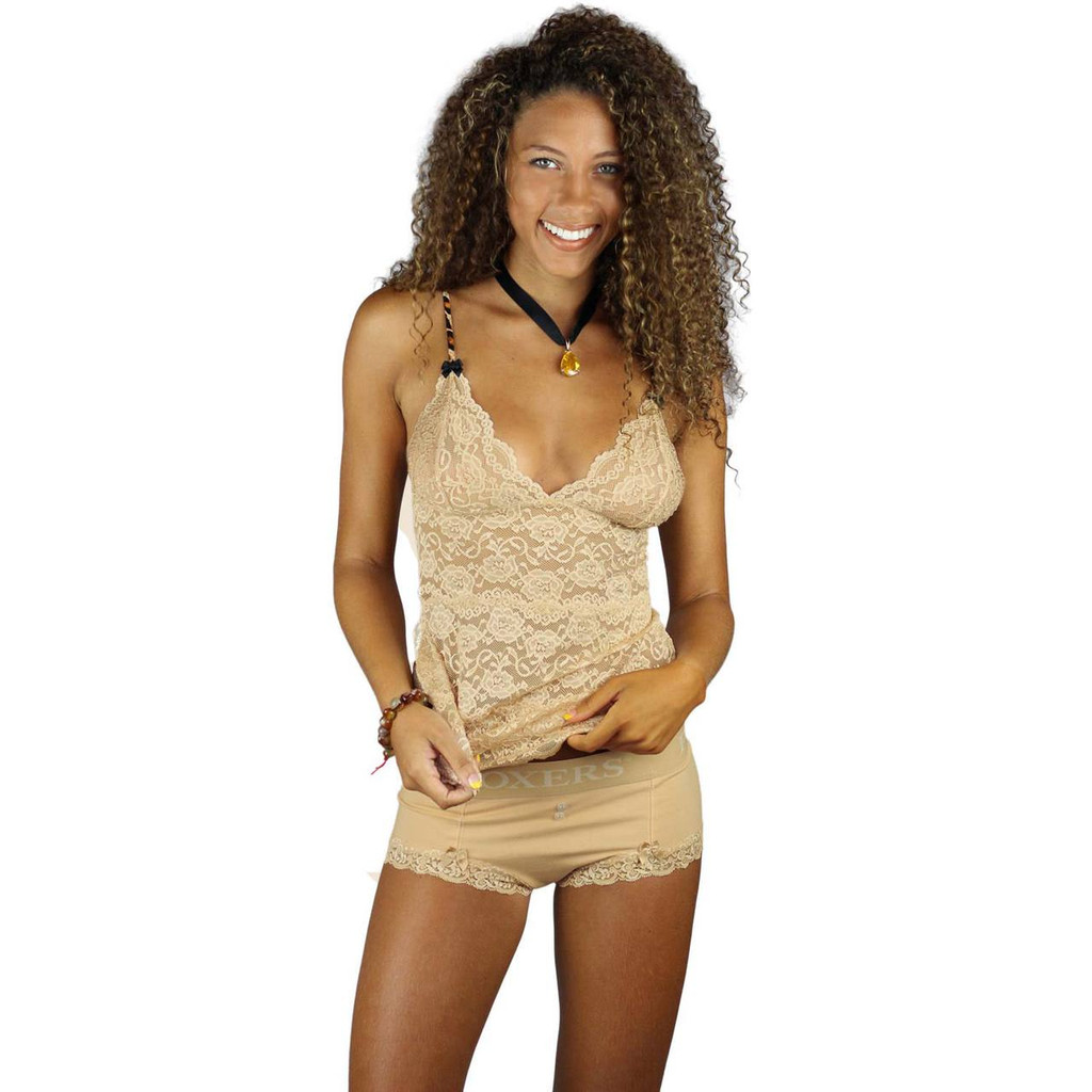 Sand Colored Lace Nightie with Cheetah Animal Print Straps