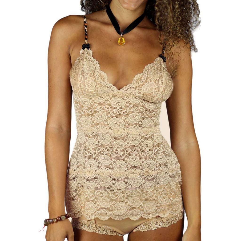 Sand (Nude) Lace Waist Length Camisole Nightie
