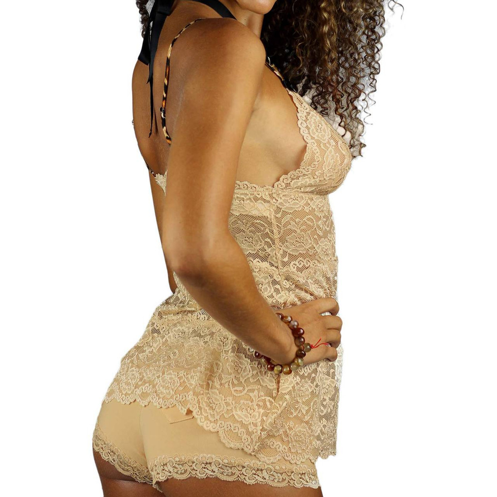 Hip Length Sahara Sand Lace Chemise