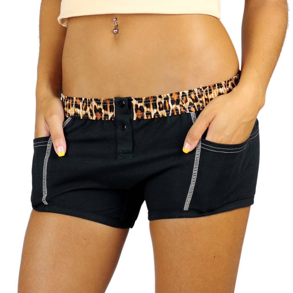 Black Tomboy Boxer Brief with Leopard Waistband  | Foxers FXBBL-01129